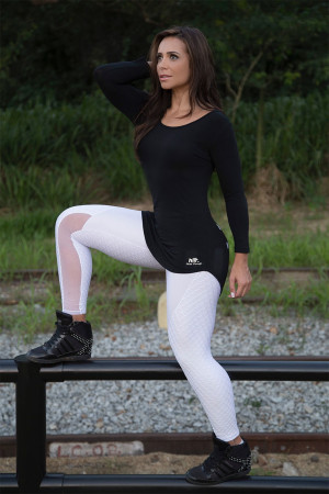 Black Fusion Leggings White Laser Cuts Canoan